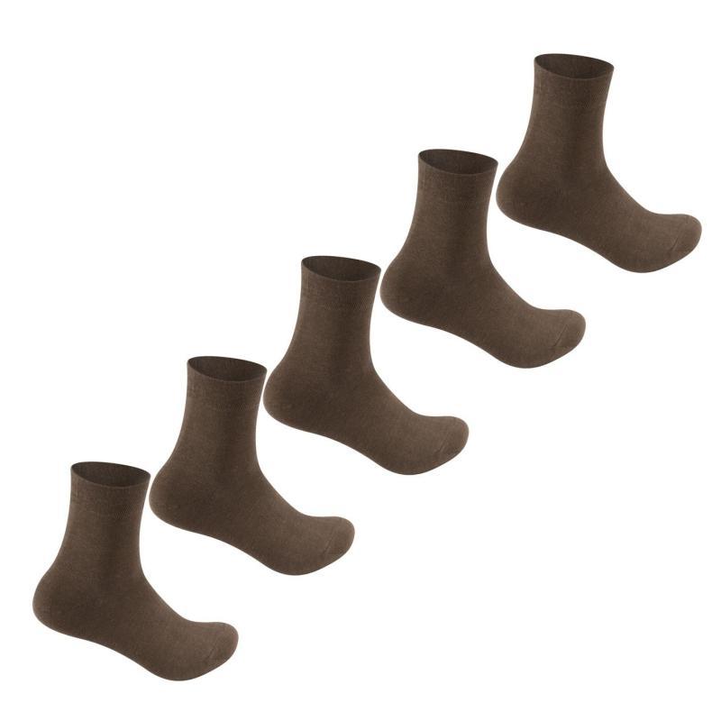 Ponožky Giorgio 5 Pack Bamboo Socks Mens Brown