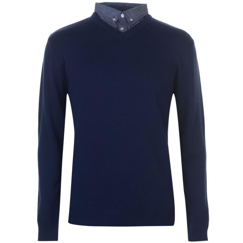 Pierre Cardin Chambray Shirt V Neck Knit Mens Navy