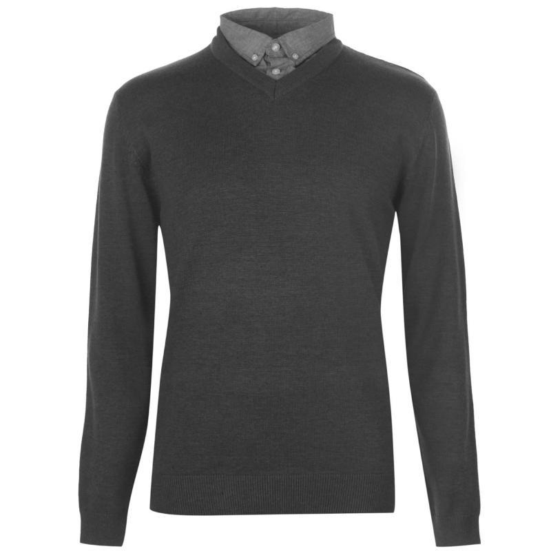 Pierre Cardin Chambray Shirt V Neck Knit Mens Charcoal Marl