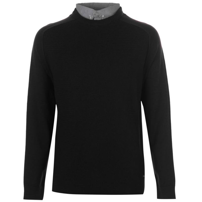 Pierre Cardin Mock Crew Knit Mens Black
