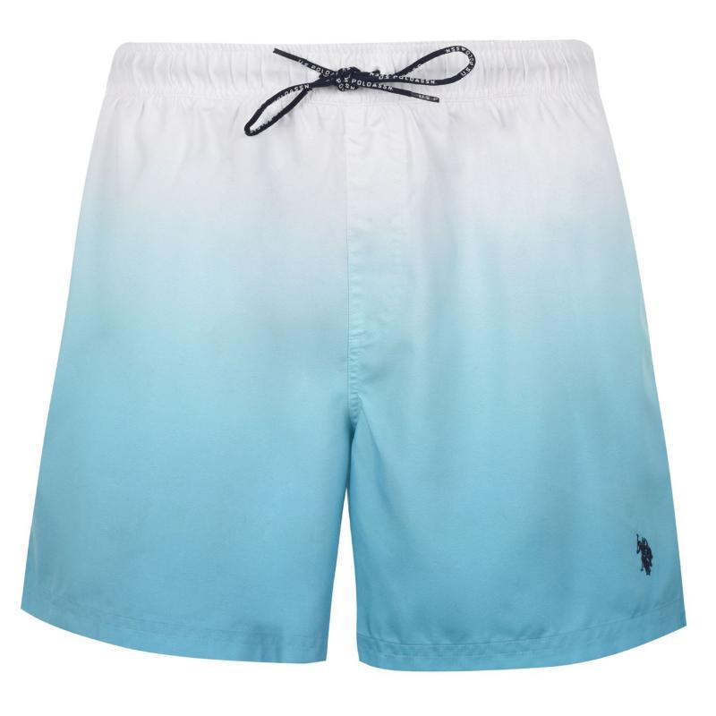 Plavky US Polo Assn Ombre Swim Shorts Mens Wht/Blue