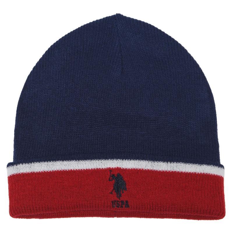 US Polo Assn Knit Beanie Med Blue/Tan Re