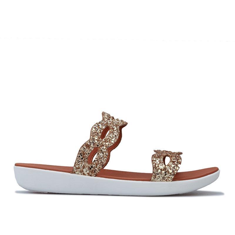 Boty Fit Flop Womens Kerstin Glitter Interlace Slide Sandals Gold