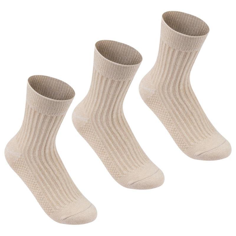Ponožky Lee Cooper 3 Pack Rib Crew Socks Ladies Beige