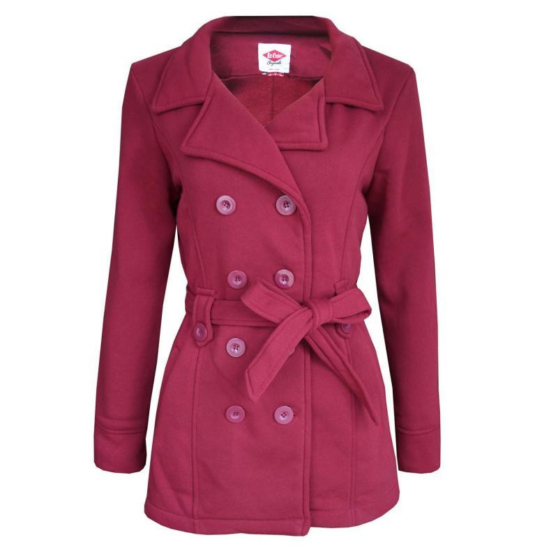 Lee Cooper Belt Coat Ladies Red