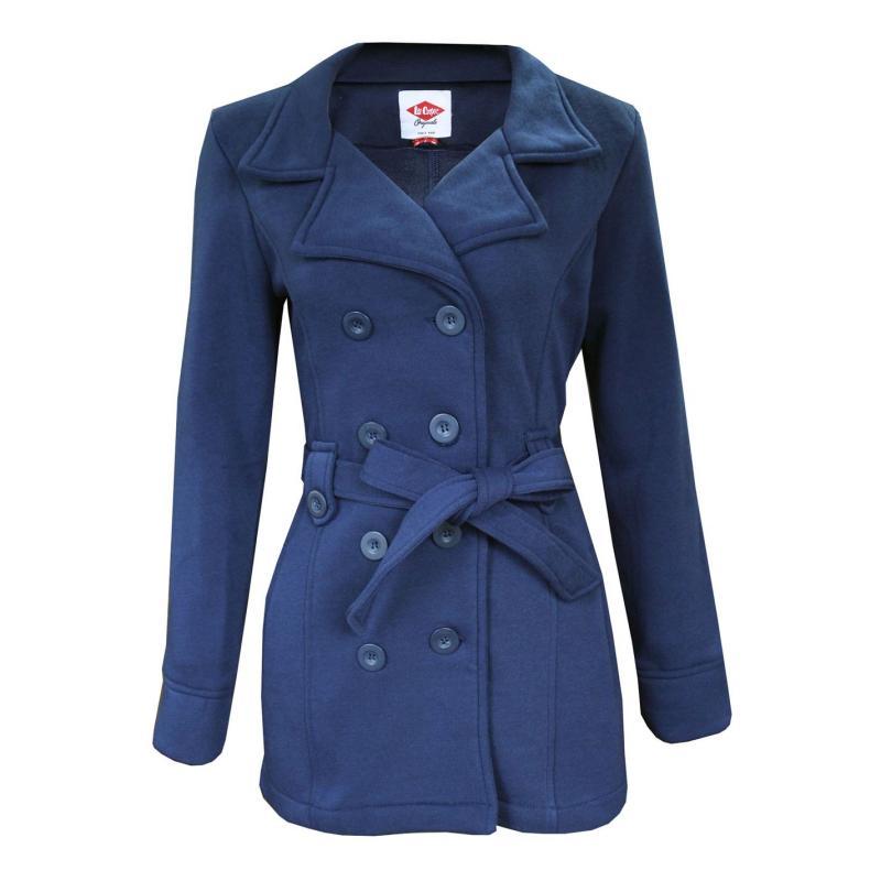 Lee Cooper Belt Coat Ladies Navy
