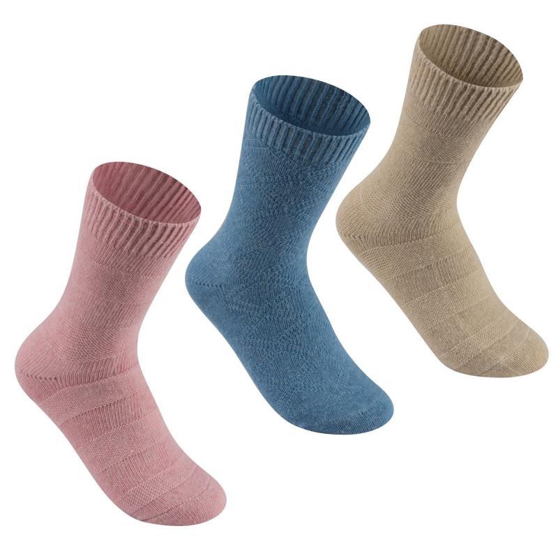 Ponožky Lee Cooper 3 Pack Wool Blend Socks Ladies Blue/Pink/Beige