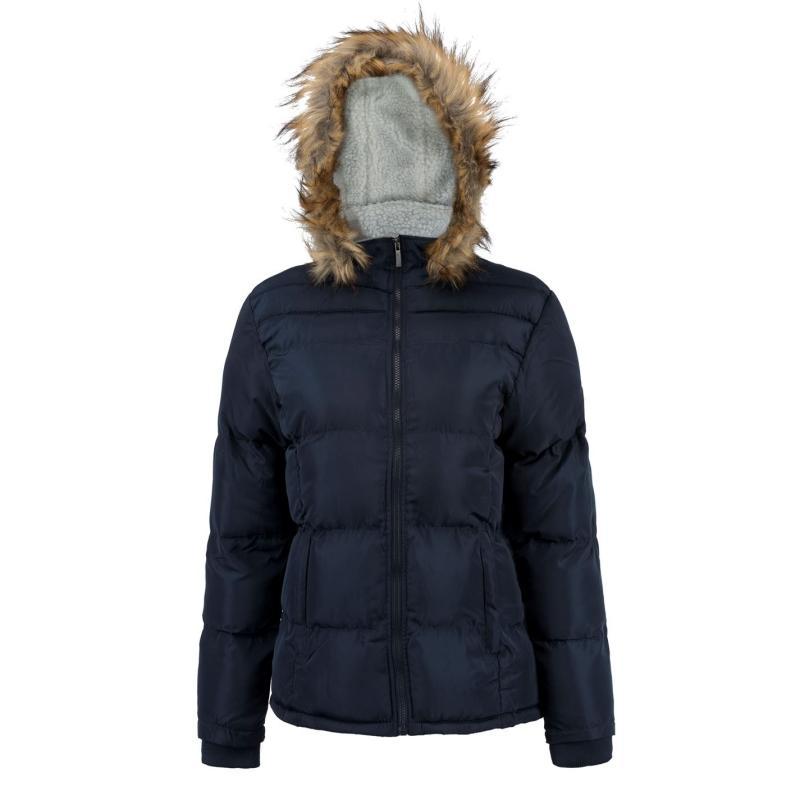 Lee Cooper Faux Fur Hood Jacket Ladies Navy