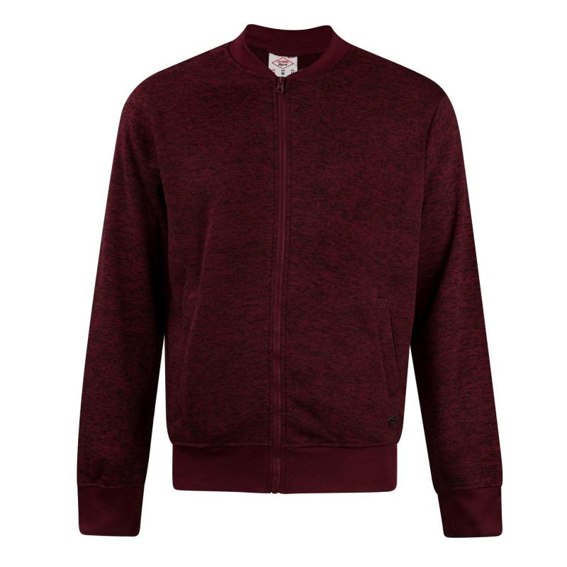 Lee Cooper Marl Bomber Mens Burgundy