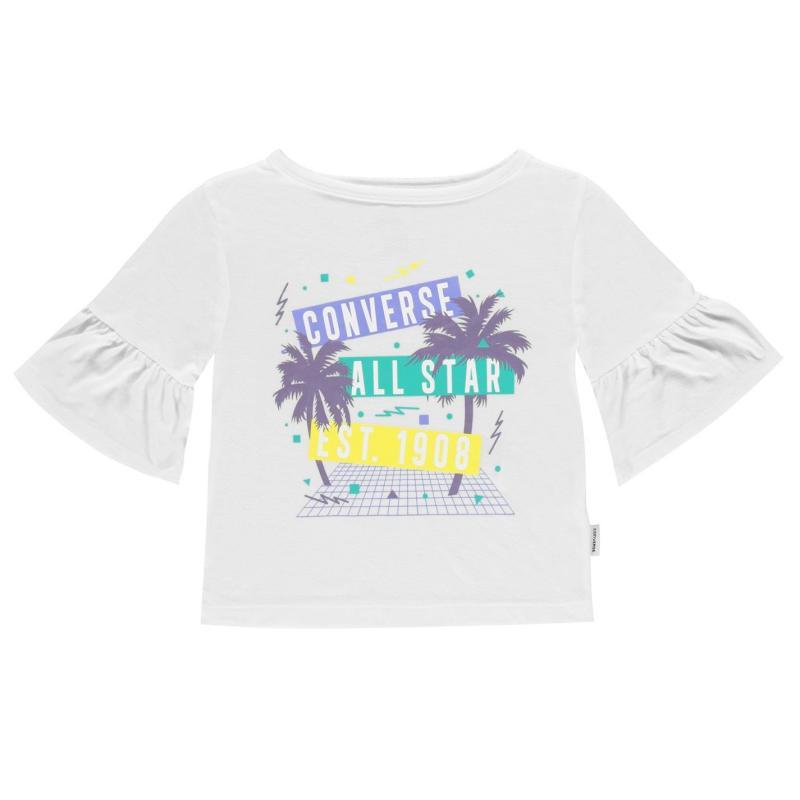 Converse Ruffle T-Shirt Junior Girls White