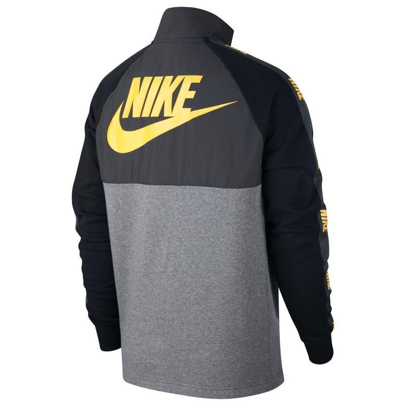 Mikina Nike Sportswear Men's Hybrid Half-Zip Top CHARCOAL HEATHR/UNIVERSITY GOL