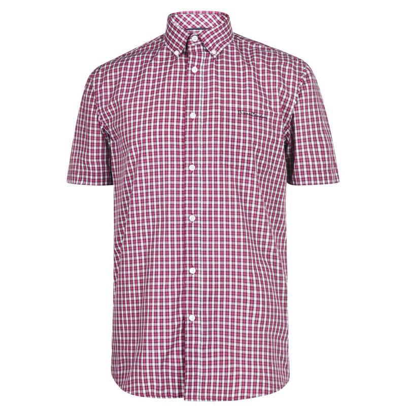 Pierre Cardin Short Sleeve Micro Check Shirt Mens Red Mini Check