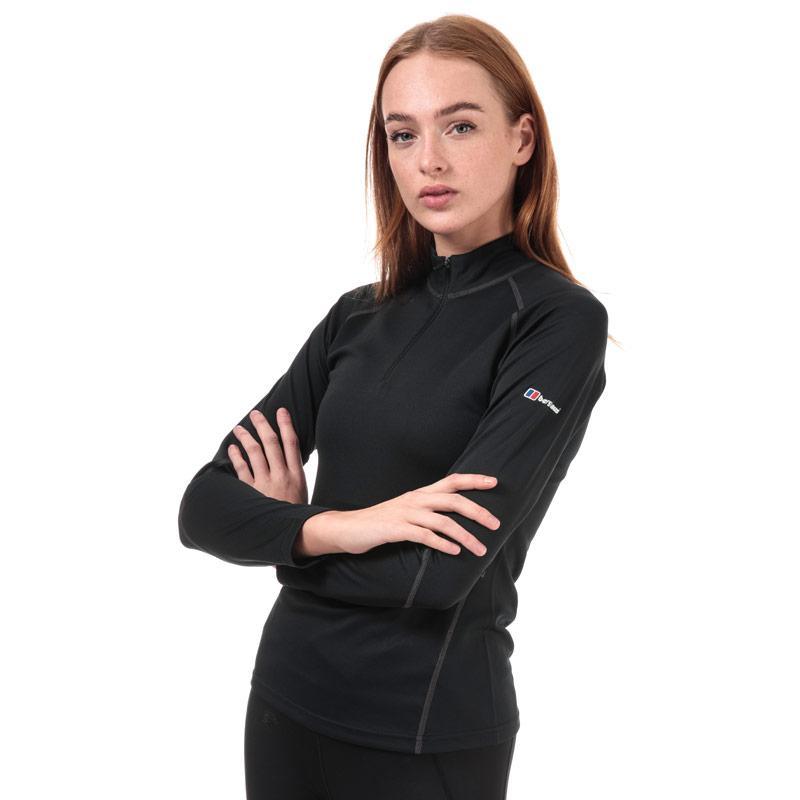 Berghaus Womens Long Sleeve Zip Neck 2.0 T-Shirt Black