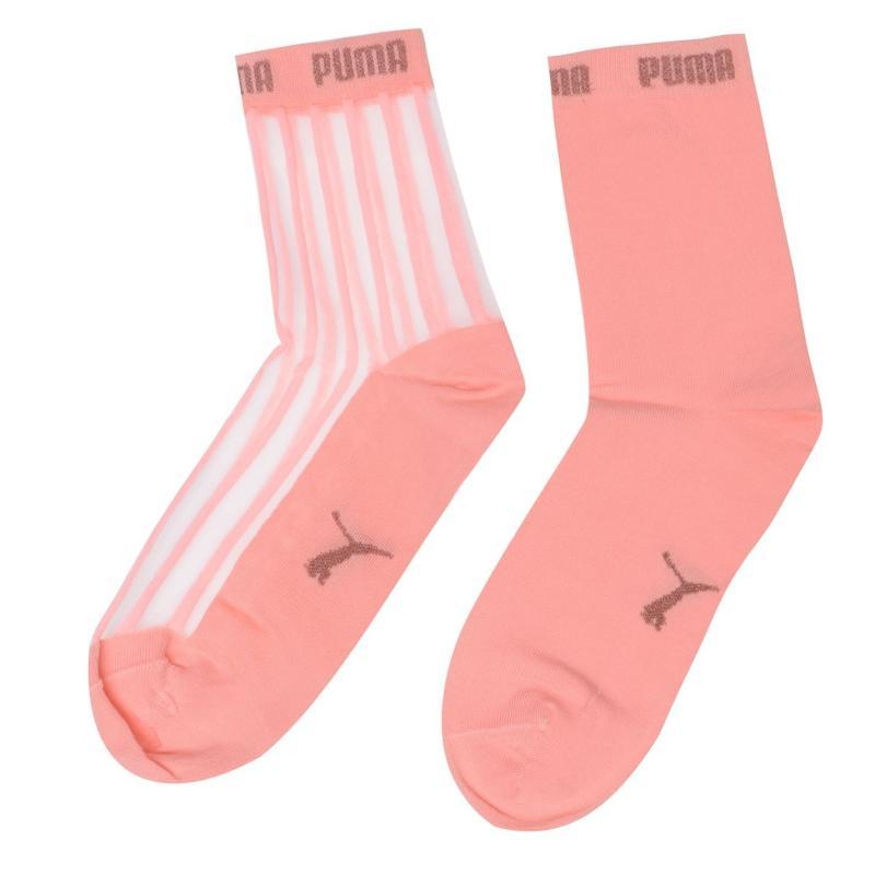 Ponožky Puma 2 Pairs Sheer Striped Ankle Socks Peach