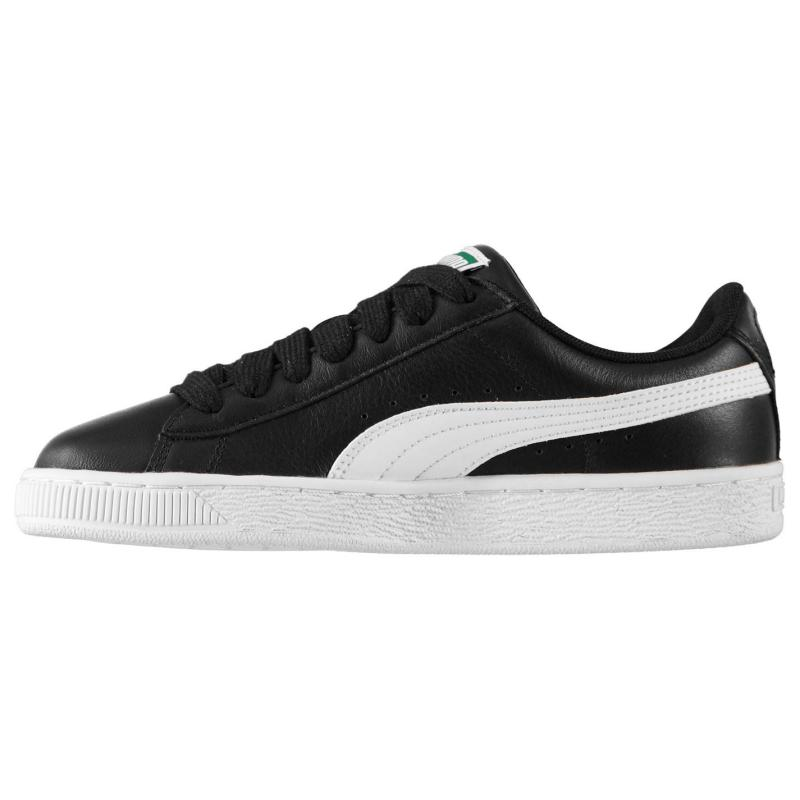 Puma Basket Leather Trainers Black/White
