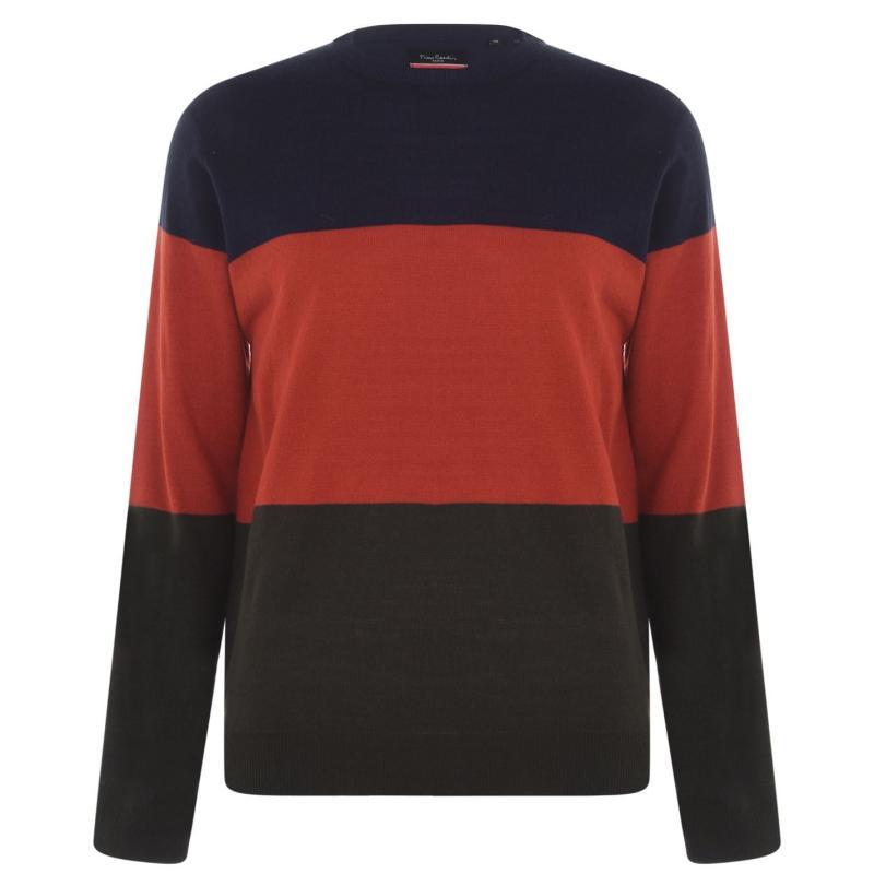 Pierre Cardin Colour Block Knit Jumper Mens Navy/Orge/Khaki