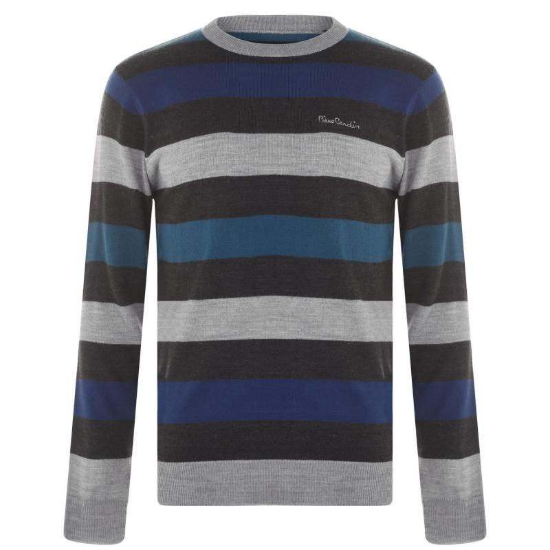 Pierre Cardin Stripe Knit Jumper Mens Charcoal/Blue