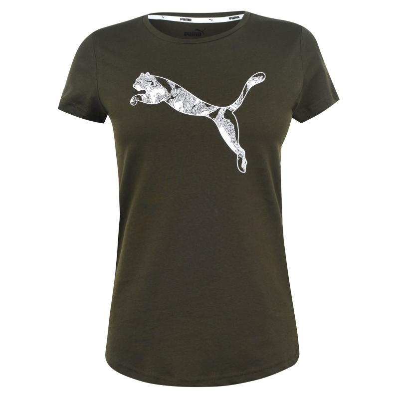 Tričko Puma Big Cat QT T Shirt Ladies Forest Night