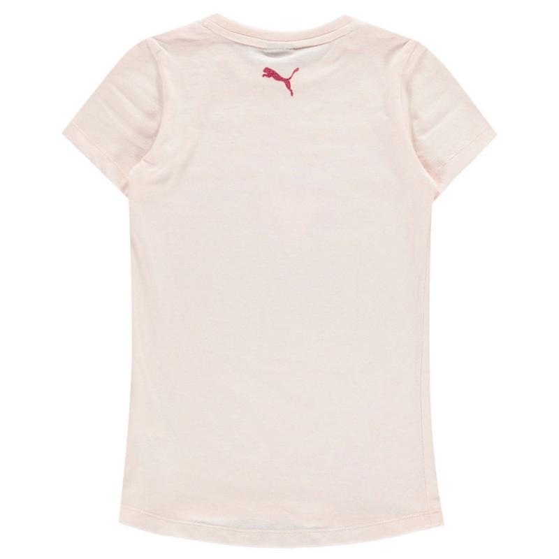 Puma Heart QT T Shirt Junior Girls Pink