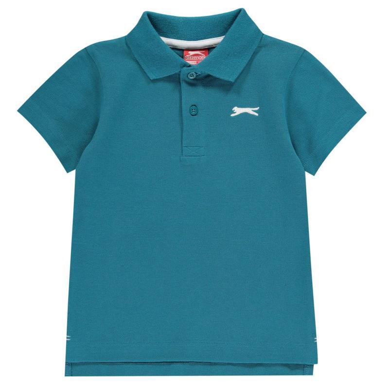 Slazenger Plain Polo Shirt Infant Boys Teal Blue