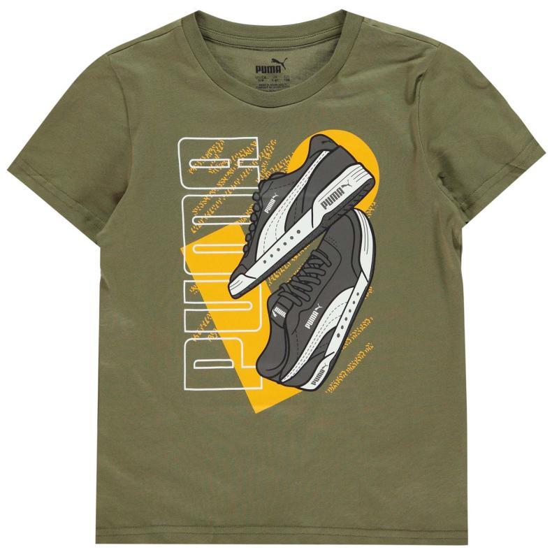 Tričko Puma Sneaker QT T Shirt Junior Boys Olivine