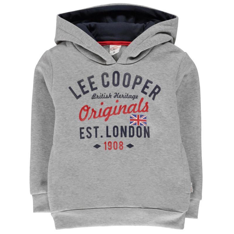 Lee Cooper London OTH Hoodie Junior Boys Grey Marl