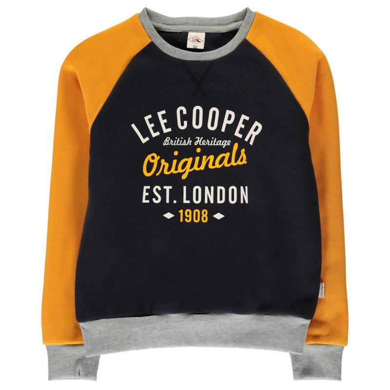 Mikina Lee Cooper Raglan Crew Sweatshirt Junior Boys Navy Mustard