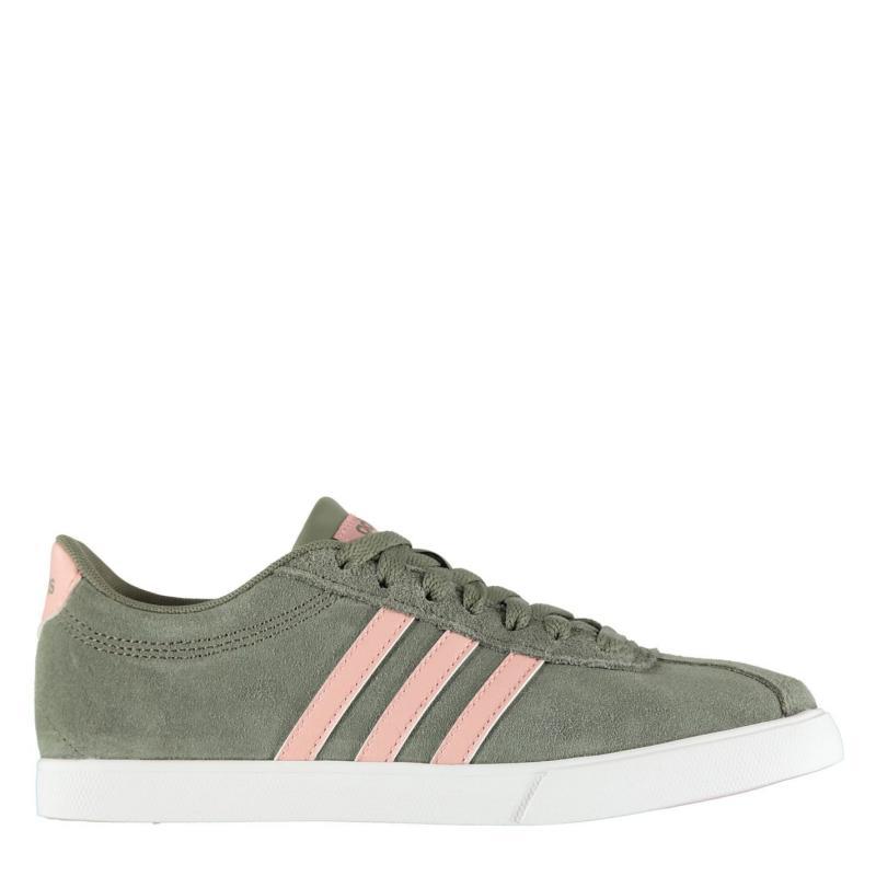 Adidas Courtset Suede Trainers Ladies Khaki/Pink/Wht