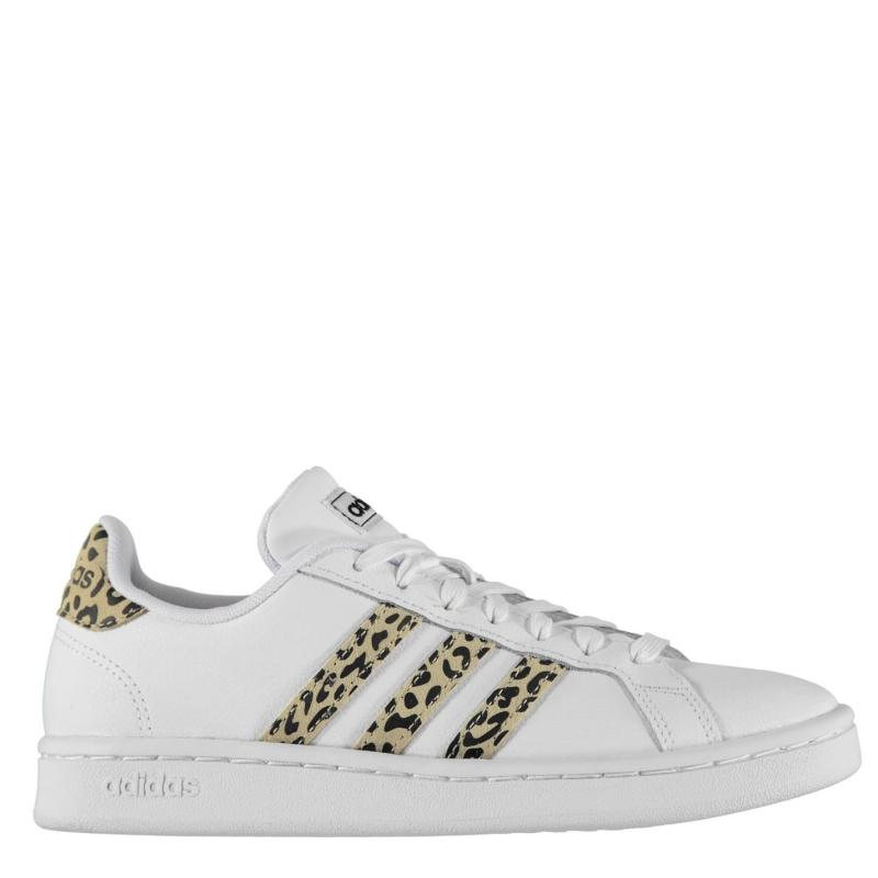 Adidas Grand Court Trainers Ladies White/Leopard