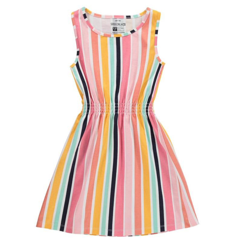 Šaty SoulCal Jersey Dress Junior Girls Ochre Striped