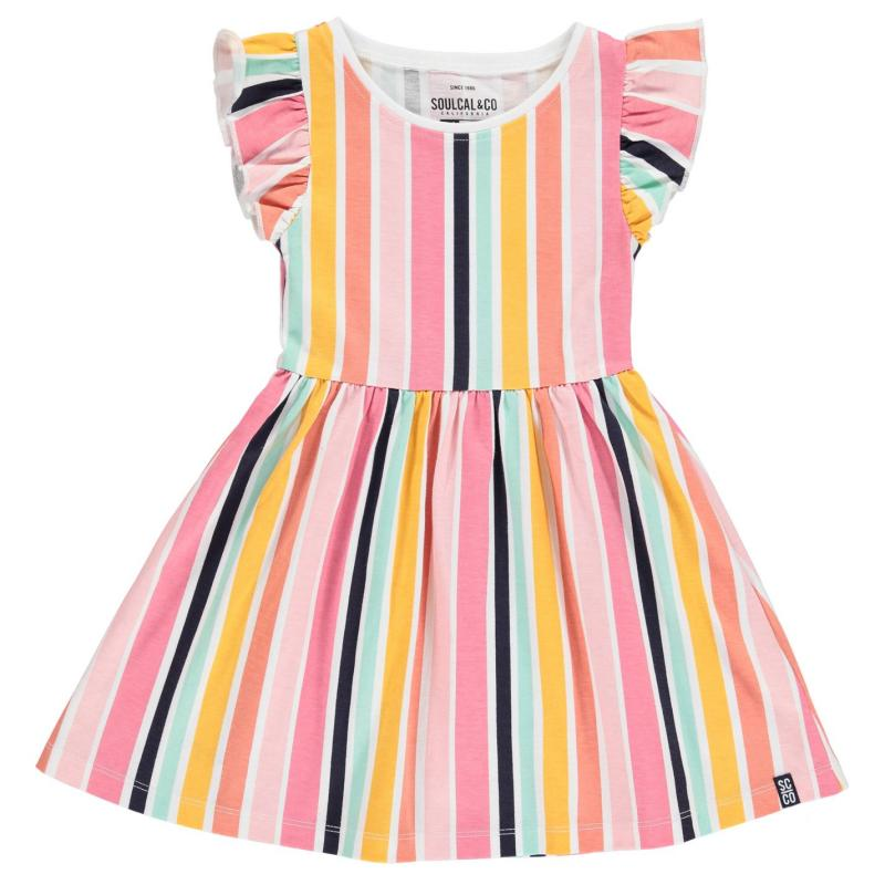 Šaty SoulCal Jersey Floral Dress Infant Girls Ochre Striped