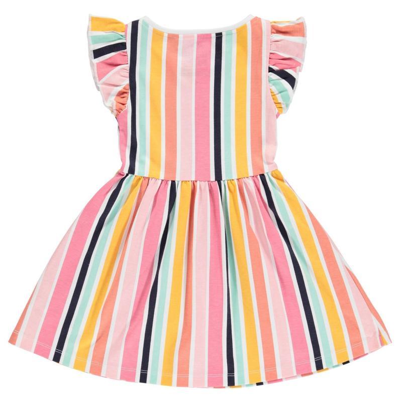 Šaty SoulCal Jersey Floral Dress Infant Girls Ochre Striped