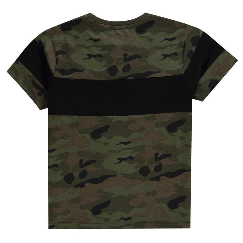 Tričko Firetrap Short Sleeve T-Shirt Junior Boys Camo AOP
