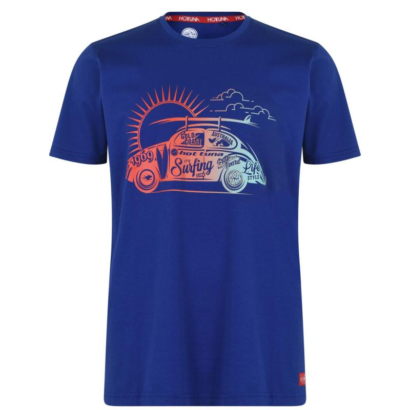 Tričko Hot Tuna Crew T Shirt Mens Royal Blue Car