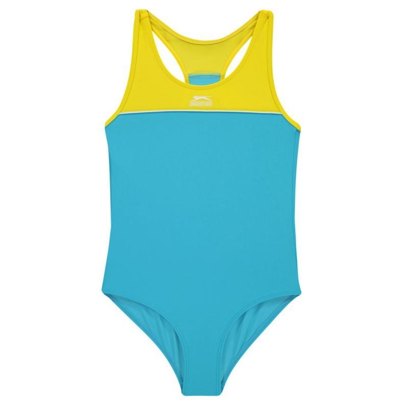 Slazenger Racer Back Swimsuit Girls Blue/Yellow