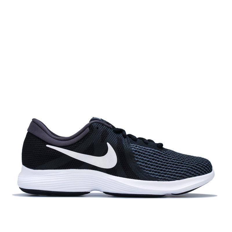 Nike Womens Revolution 4 Running Shoes Black-White