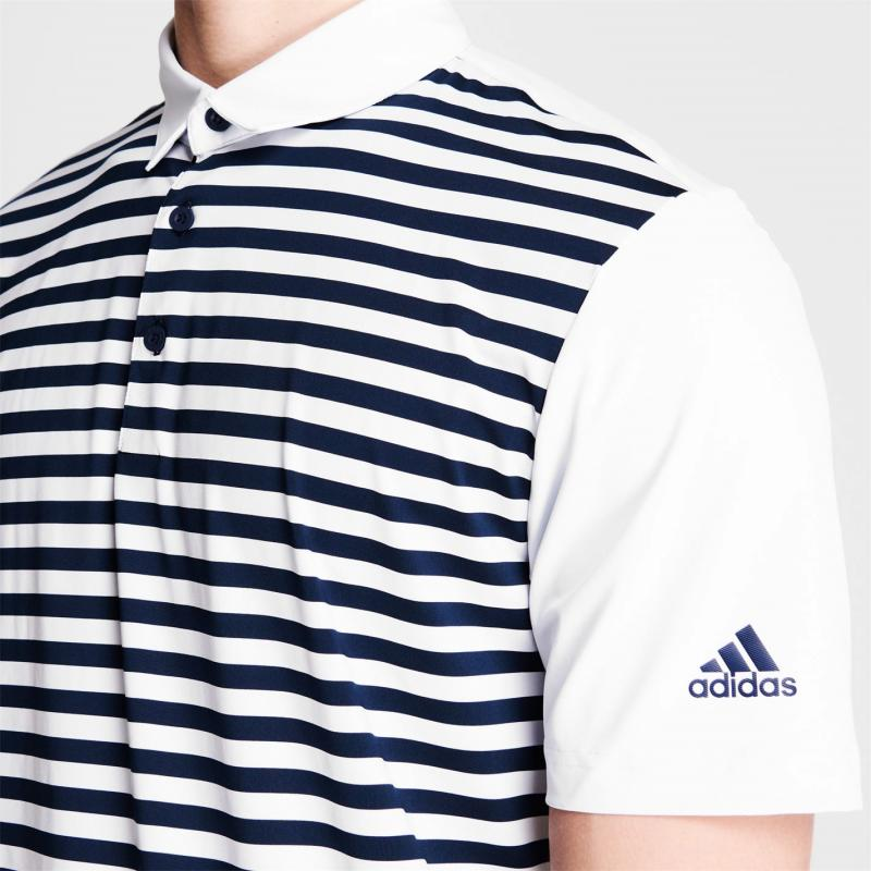 Adidas Ultra Stripe Polo Shirt Mens White/Navy