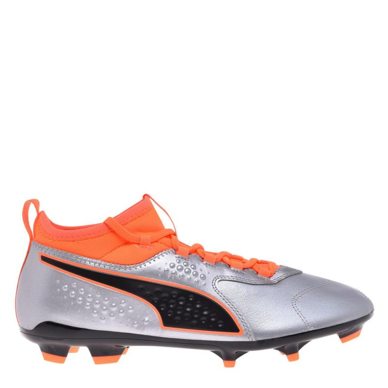 Puma ONE 3 Leather FG Mens Football Boots Silver/Org/Blk