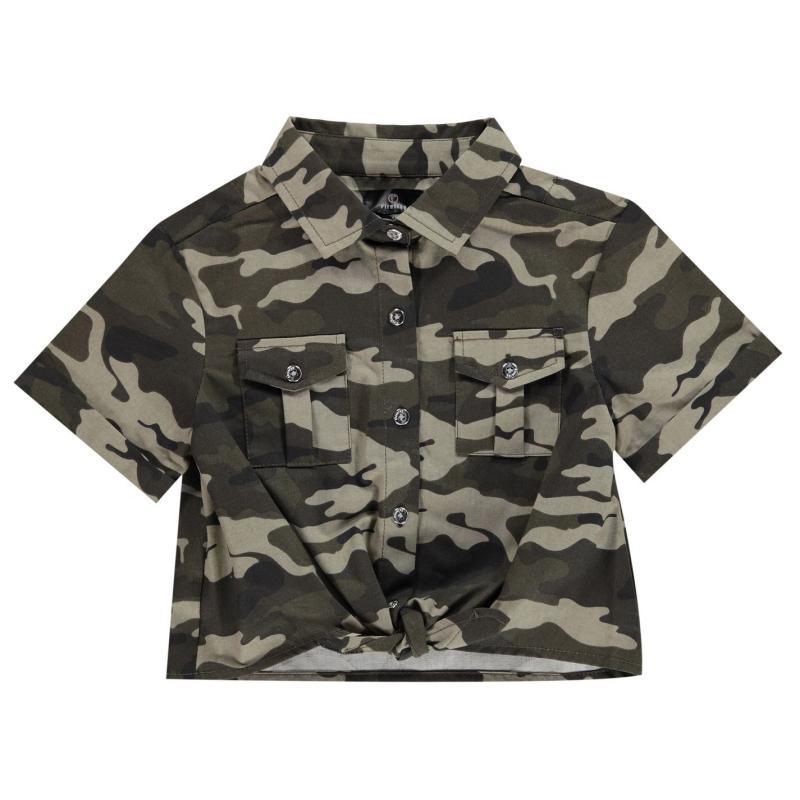 Firetrap Camo Shirt Girls Camo AOP