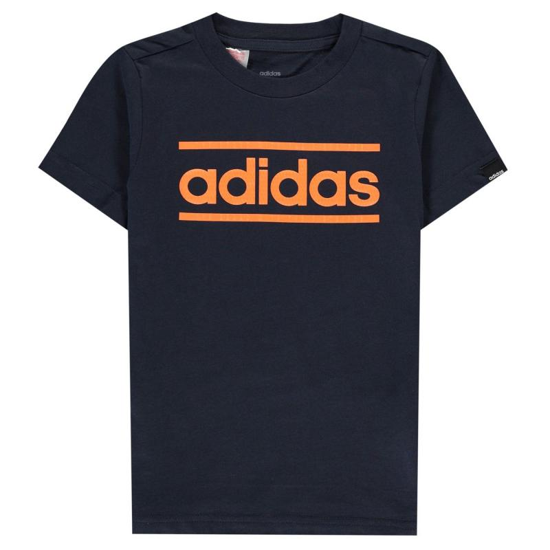Tričko adidas Classic Logo T-Shirt Junior Boys Navy/Orange