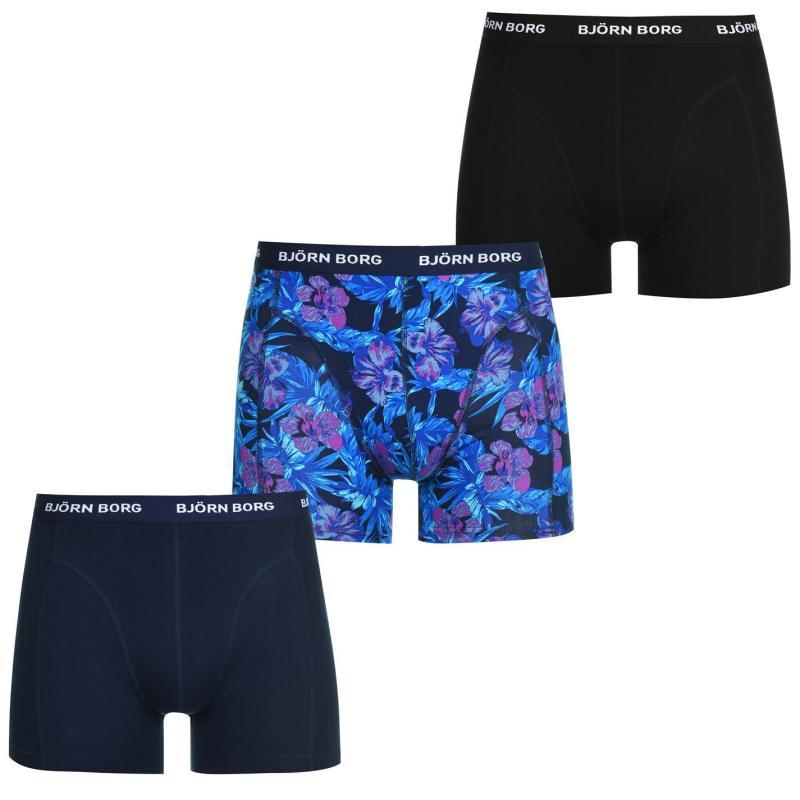 Spodní prádlo Bjorn Borg Flower 3 Pack Trunks Mens Peacoat