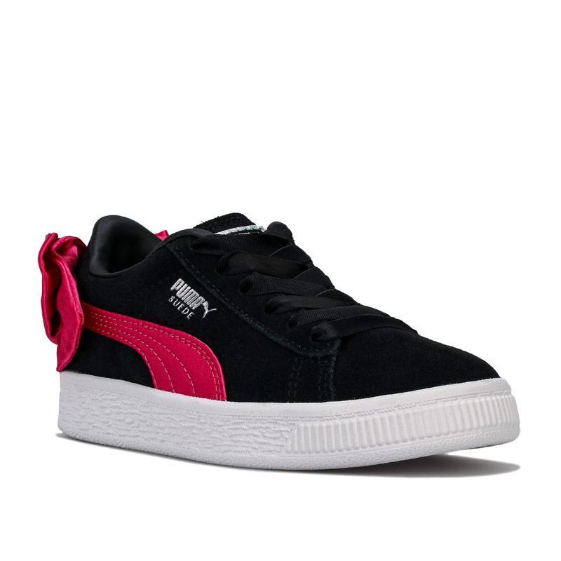 Puma Children Girls Suede Bow Trainers black pink