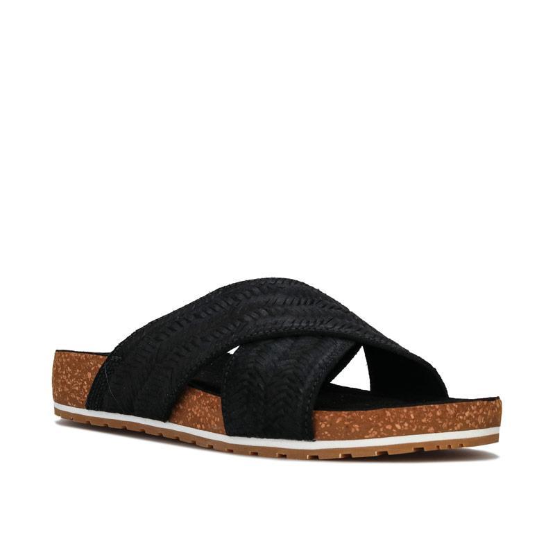 Boty Timberland Womens Malibu Waves Cross Slide Sandals Black