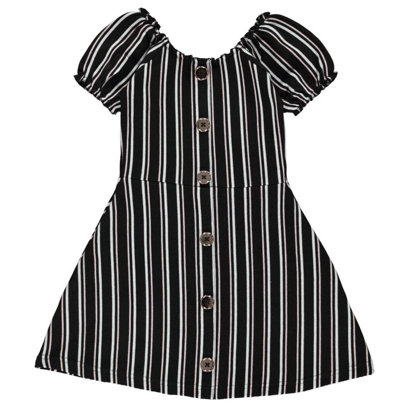 Šaty Firetrap Rib Dress Infant Girls Black Stripe