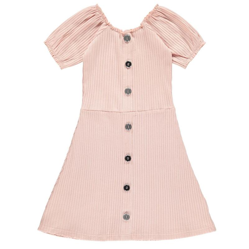 Šaty Firetrap Rib Dress Junior Girls Lotus Pink