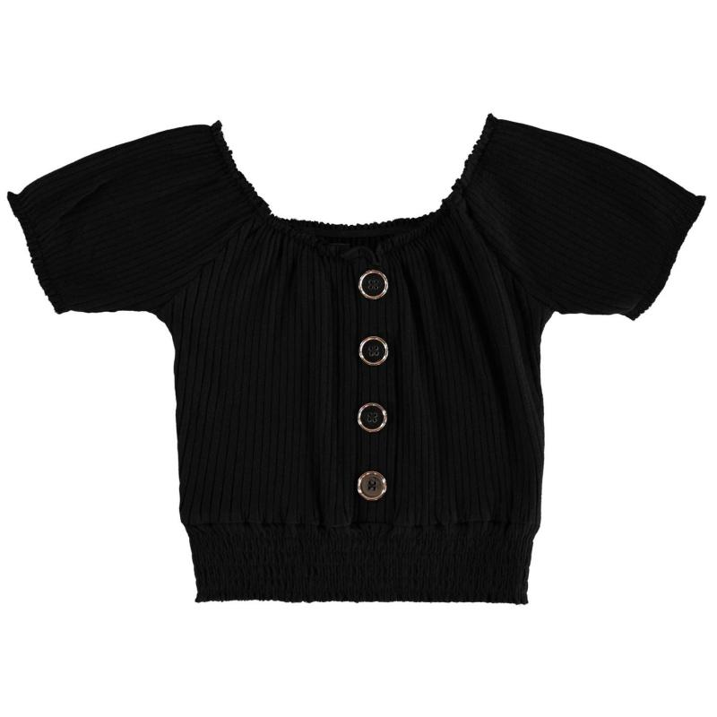 Firetrap Shirred Crop Top Junior Girls Jet Black