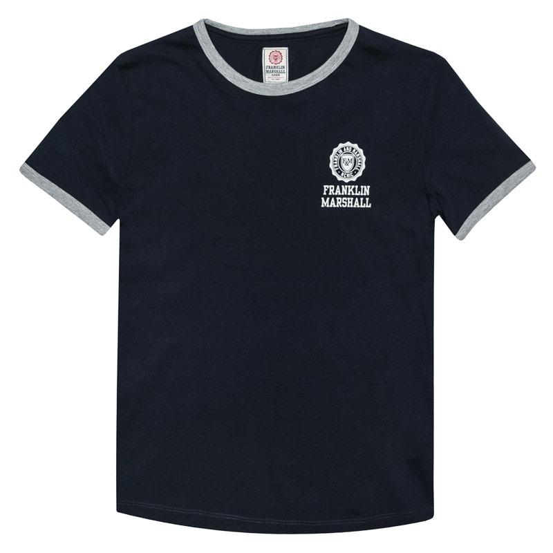 Tričko Franklin And Marshall Junior Boys Retro Logo Ringer T-Shirt Navy