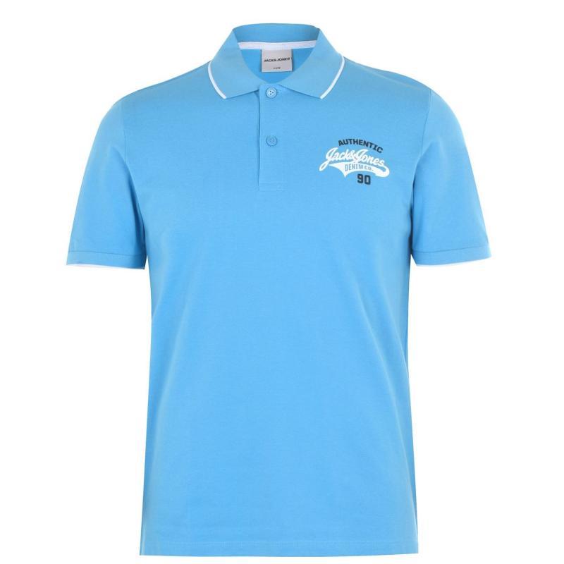 Jack and Jones Core Heritage Polo Shirt Mens Azure/White