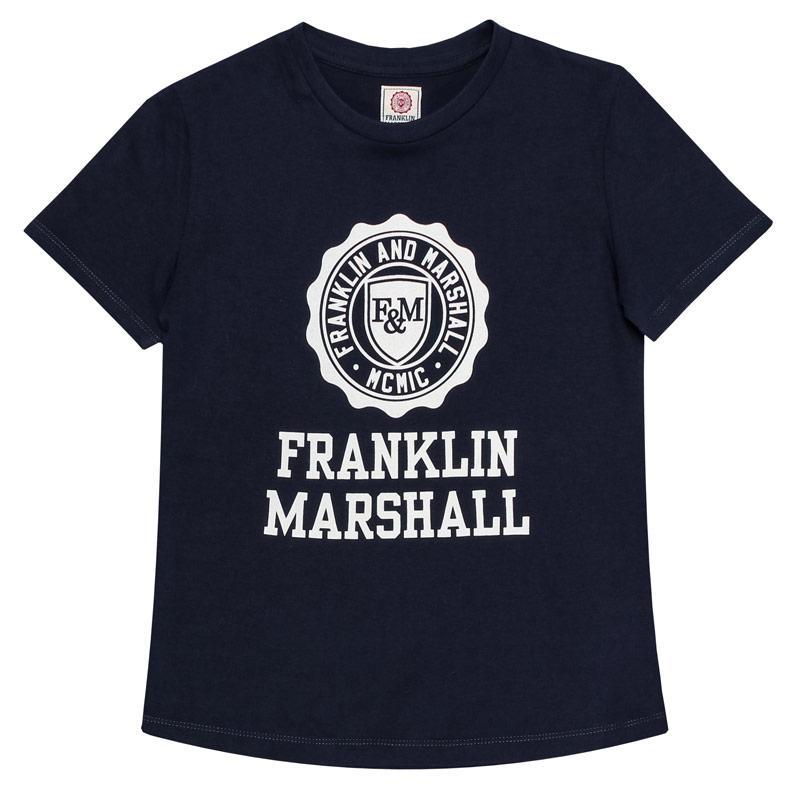 Tričko Franklin And Marshall Junior Boys F and M Logo T-Shirt Navy
