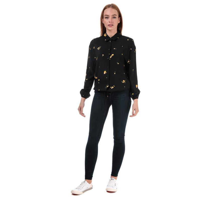 Only Womens Alisa Life Floral Shirt Black